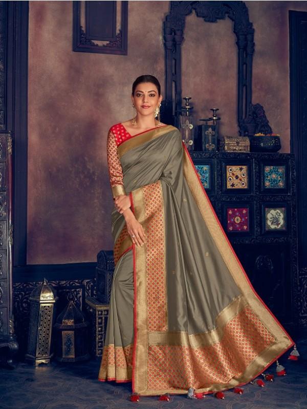 Pure Natural  Silk Weaving Wedding  Wear Saree In Grey