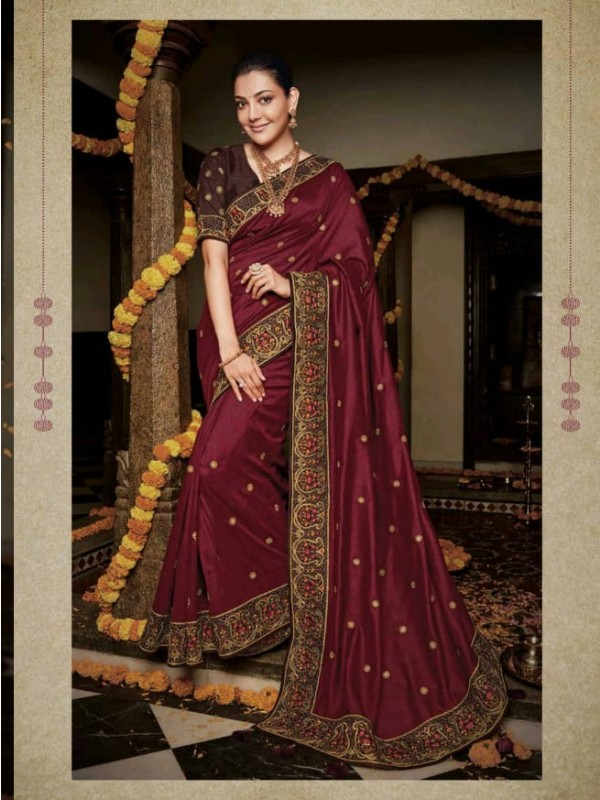 Pure Natural  Silk Party Wear Saree In Maroon with Embroidery Work