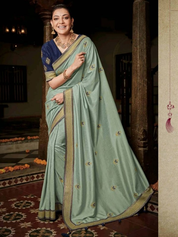 Pure Natural  Silk Party Wear Saree In Grey with Embroidery Work