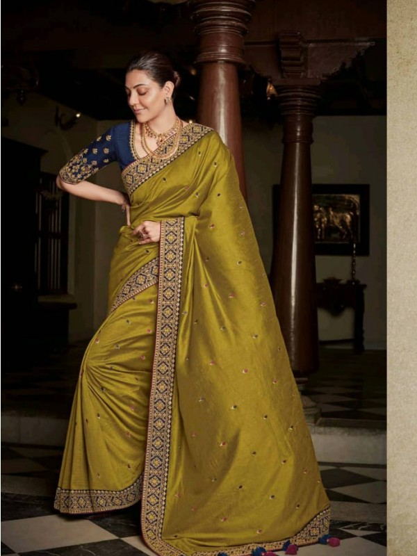 Pure Natural  Silk Party Wear Saree In Mustard  with Embroidery Work
