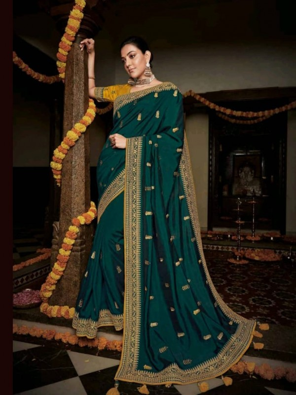 Pure Natural  Silk Party Wear Saree In Dark Turquoise  with Embroidery Work