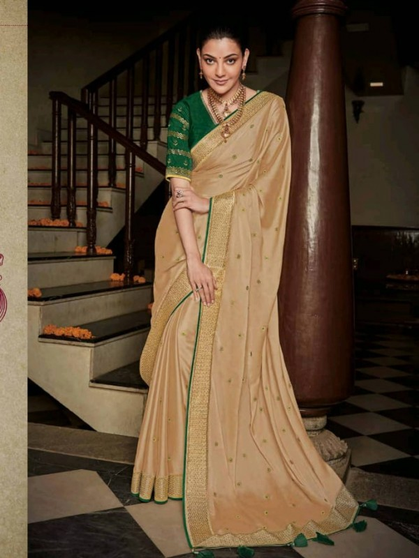 Pure Natural  Silk Party Wear Saree In Beige  with Embroidery Work