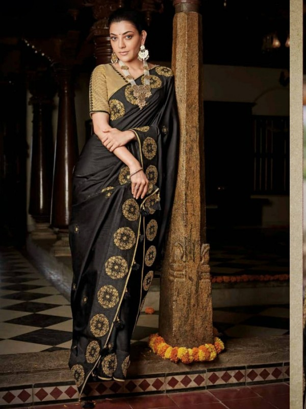 Pure Natural  Silk Party Wear Saree In Black with Embroidery Work