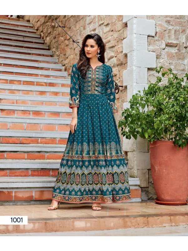 Muslin Digital Print with hand Touch Up with Full Inner Casual Wear Kurti In Blue
