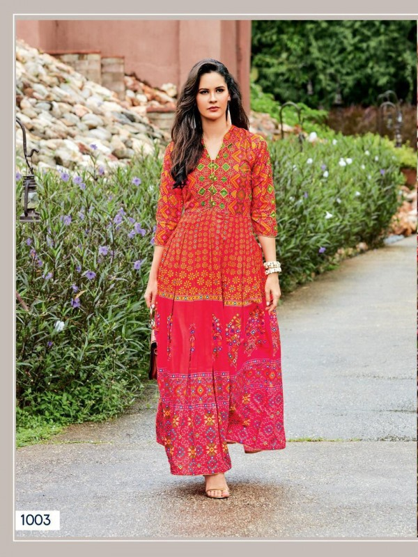 Muslin Digital Print with hand Touch Up with Full Inner Casual Wear Kurti In Orange&Rani