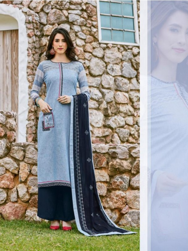 South Cotton Kurti With Rayon Plazo In Sky Blue Color With Embroidery Work ,Cotton Work Duppata