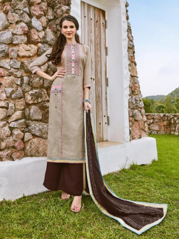 South Cotton Kurti With Rayon Plazo In Beige&Brown With Embroidery Work ,Cotton Work Duppata