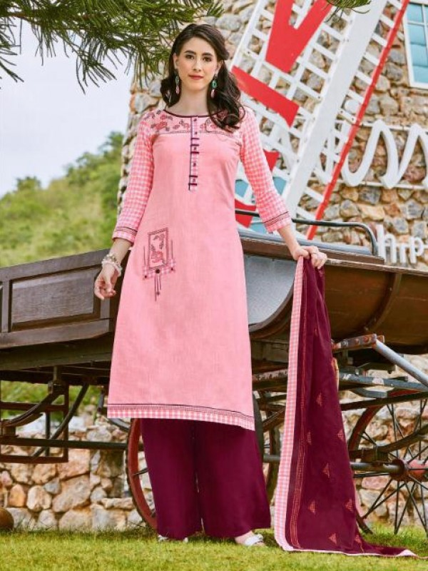 South Cotton Kurti With Rayon Plazo In Pink&Magenta With Embroidery Work ,Cotton Work Duppata