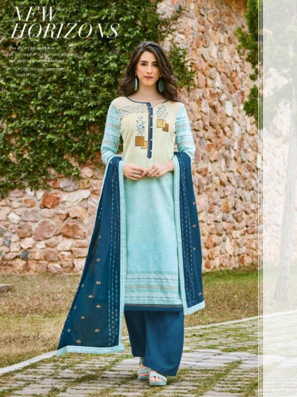 South Cotton Kurti With Rayon Plazo In Blue Color With Embroidery Work ,Cotton Work Duppata