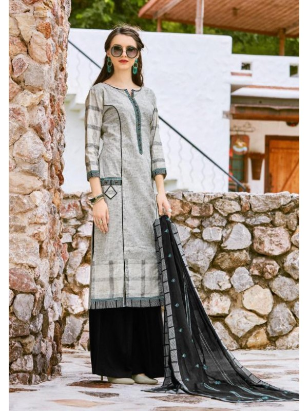 South Cotton Kurti With Rayon Plazo In Black&Grey Color With Embroidery Work ,Cotton Work Duppata