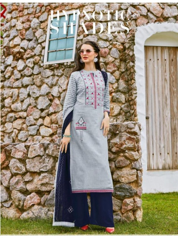 South Cotton Kurti With Rayon Plazo In Grey&Blue Color With Embroidery Work ,Cotton Work Duppata