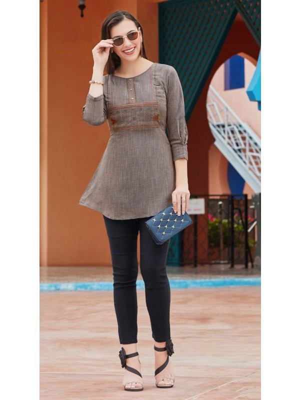 Pure Rayon Flex with Schiffli Casual Wear Top In Grey With Embroidery