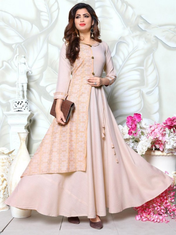Linen Cotton Long Kurti In Light Pink With Embroidery Work