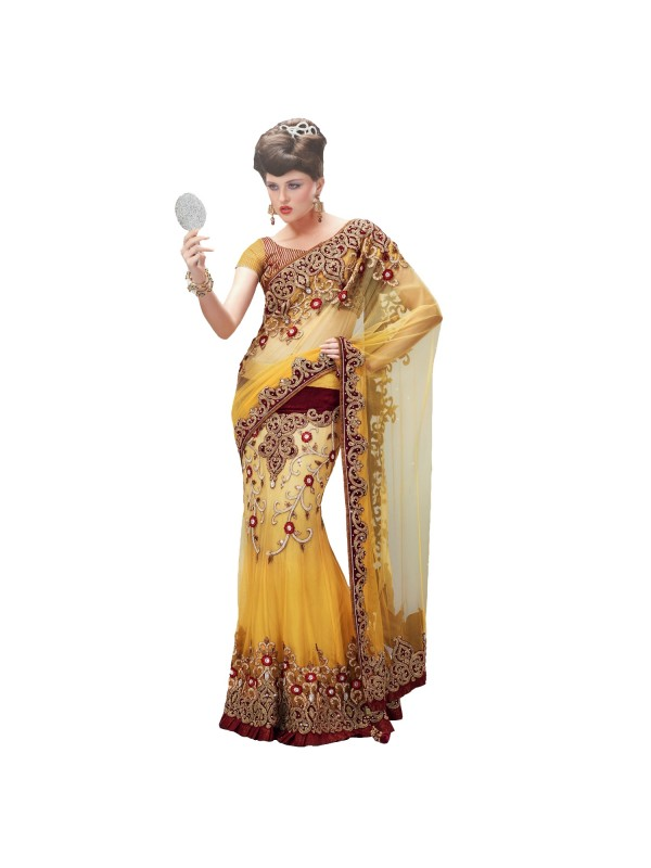 Soft Premium Net Party Wear Lehenga Saree In Yellow Embroidery & Crystals Stone Work