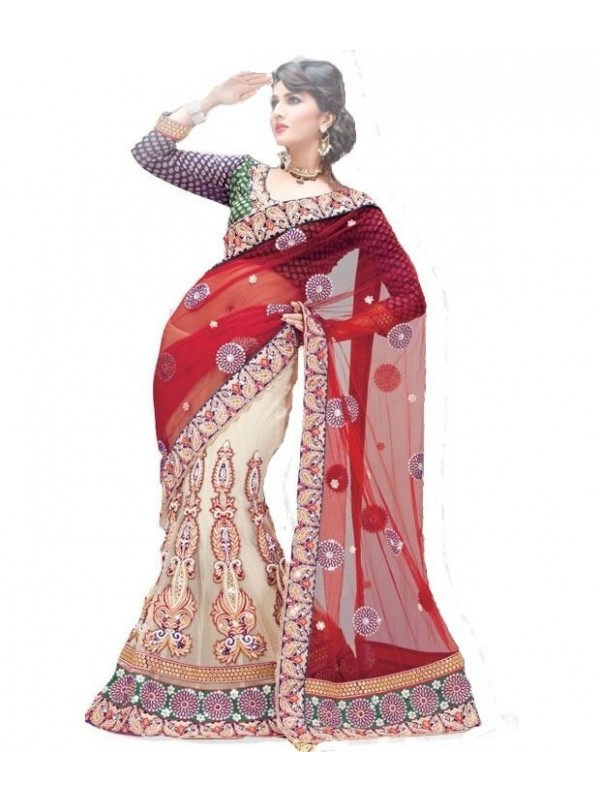Soft Premium Net Party Wear Lehenga Saree In Cream With Embroidery Stone Work