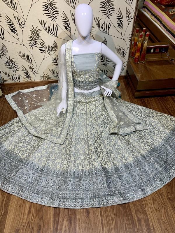 Soft Premium Net Wedding Wear Lehenga In Ravishing Grey With Luckhnowi Work & Stone Work