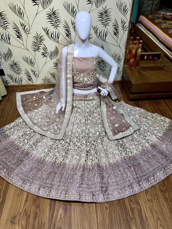 Soft Premium Net Wedding Wear Lehenga In burgundy light With Luckhnowi Work & Stone Work