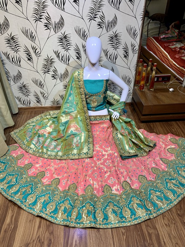 Pure Banarasi Silk Wear Lehenga In Pink Color with Embroidery & Pearl Work