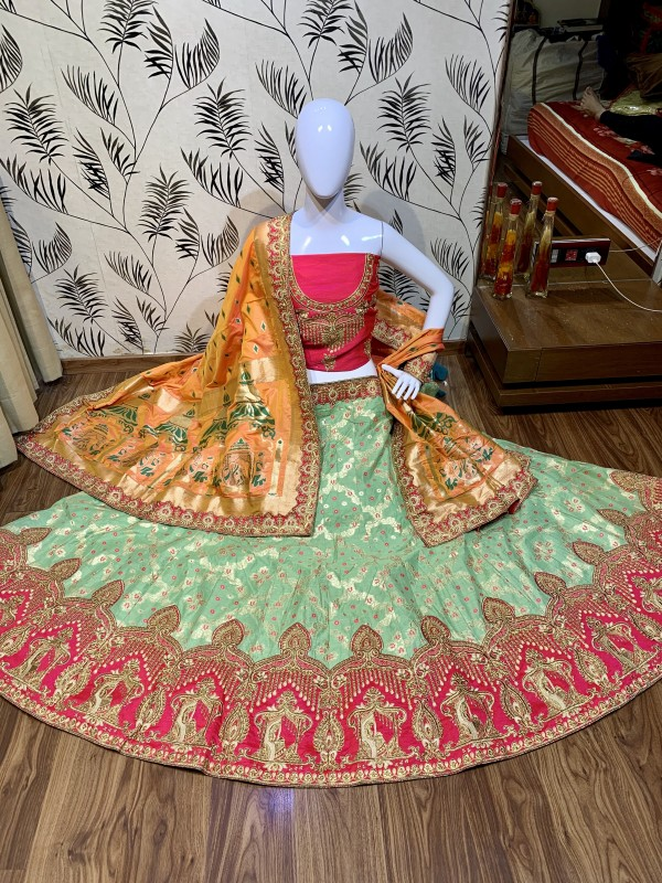 Pure Banarasi Silk Wear Lehenga In Sea Green Color with Embroidery & Pearl Work