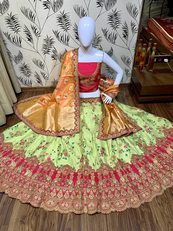 Pure Banarasi Silk Wear Lehenga In Light Green Color with Embroidery & Pearl Work