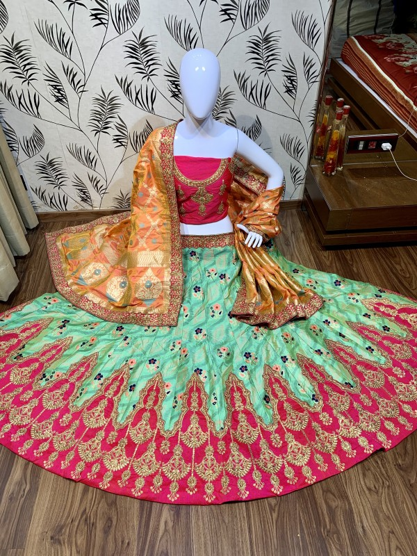 Pure Banarasi Silk Wear Lehenga In Rama Color with Embroidery & Pearl Work