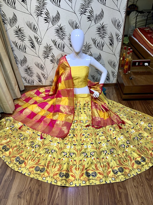 Pure Jecquard Mehendi Sangeet Wear Lehenga In Yellow Color with Embroidery & Pearl Work