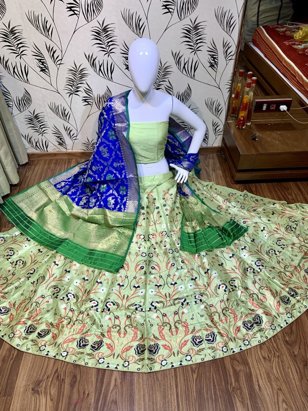 Pure Jecquard Silk Mehendi Sangeet Wear Lehenga In Light Green Color with Embroidery & Pearl Work