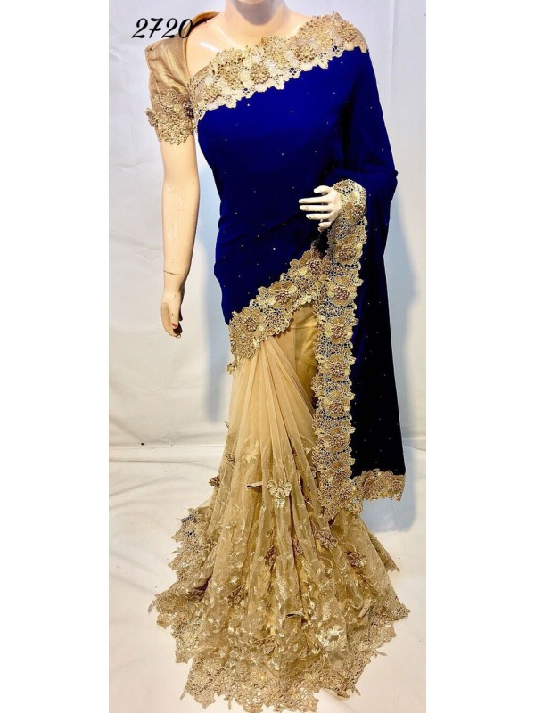 Pure Micro Velvet Wedding Wear Saree In Blue With Embroidery & Crystals Stone Work
