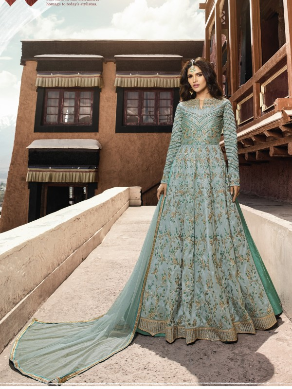 Soft silk Party Wear Gown In Light  Blue With Resham & Stone Work