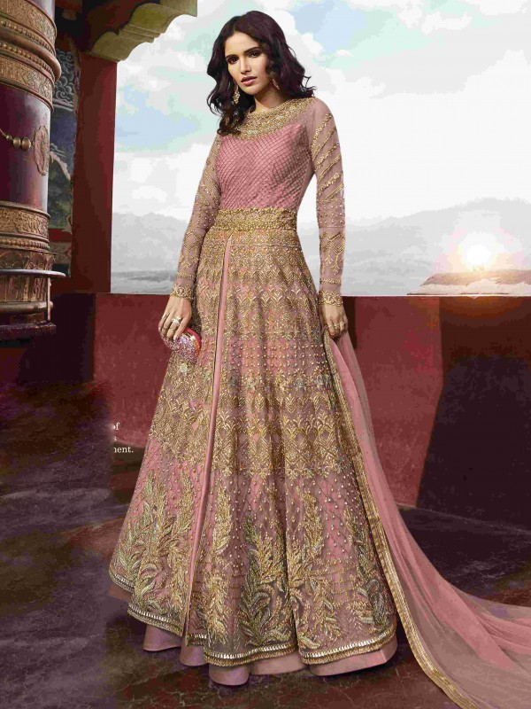 Soft Round Net Party Wear Gown In Pink With Resham & Stone Work
