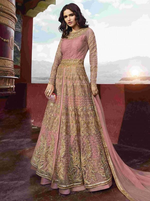 Soft Round Net Party Wear Gown In Pink With Resham & Stone Work