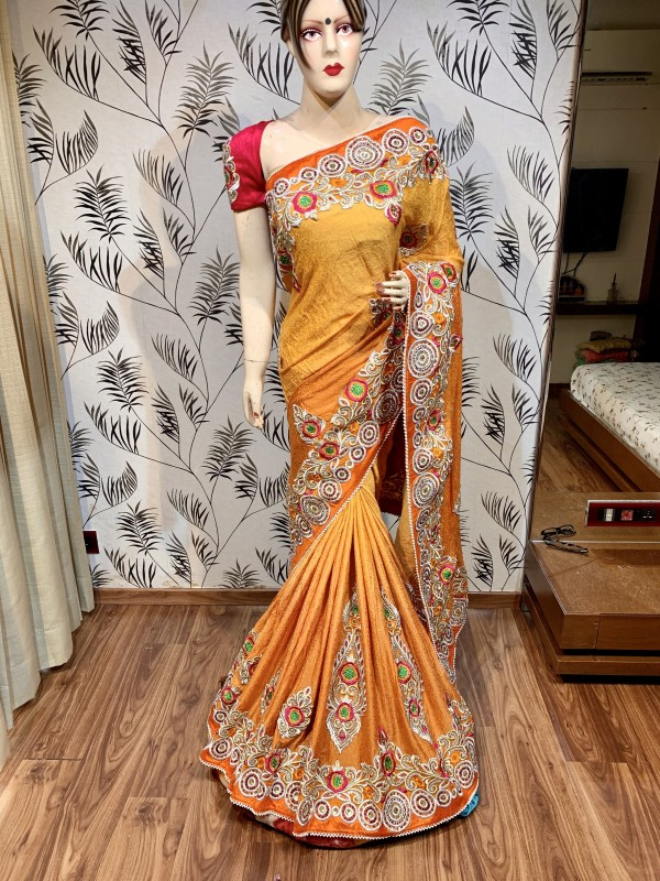 Jacquard Silk Party Wear Saree In Orange WIth Embroidery & Crystal Stone Work