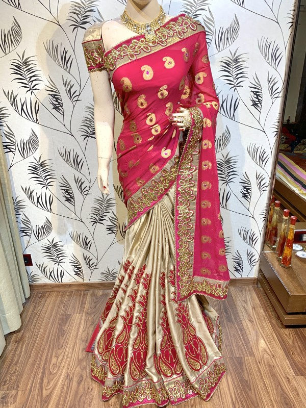Pure Viscose Jacquard Silk Party Wear Saree In Pink WIth Embroidery Work & Crystals Stone Work