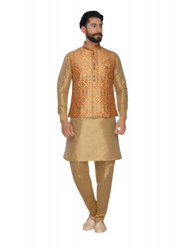 Jacquard Silk Sherwani In Gold & Oranje Color