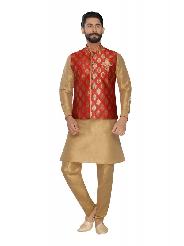 Jacquard Silk Sherwani In Off White Dark Red Color
