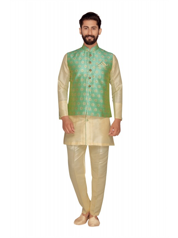 Jacquard Silk Sherwani In Off White & C-Green Color