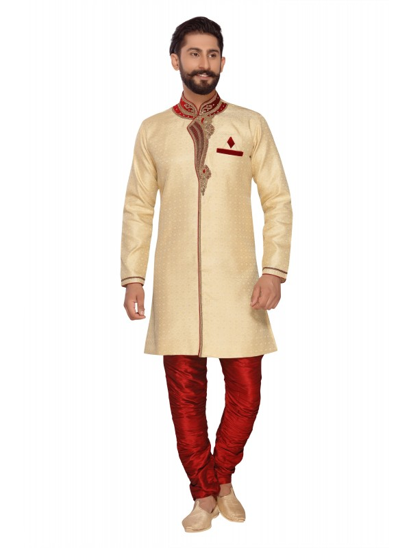 Jacquard Silk Sherwani In  Off White & Red  Color