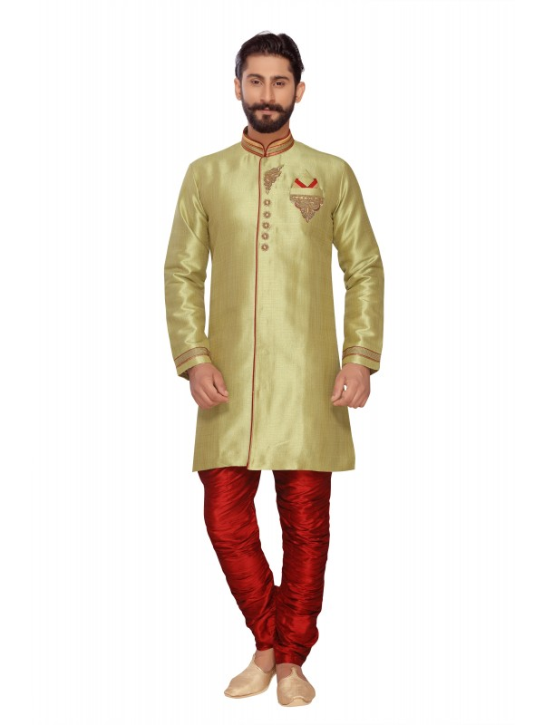 Jacquard Silk Sherwani In  Green & Red  Color