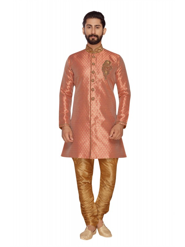 Jacquard Silk Sherwani In Creme & Red Color