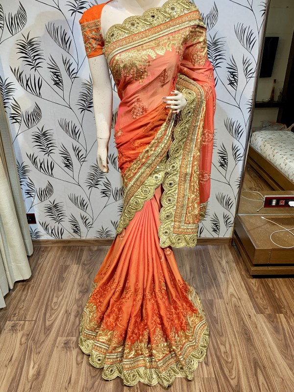 Pure Chiffon Wedding Wear Saree In Orange Color With Embroidery Work & Crystal Stone work