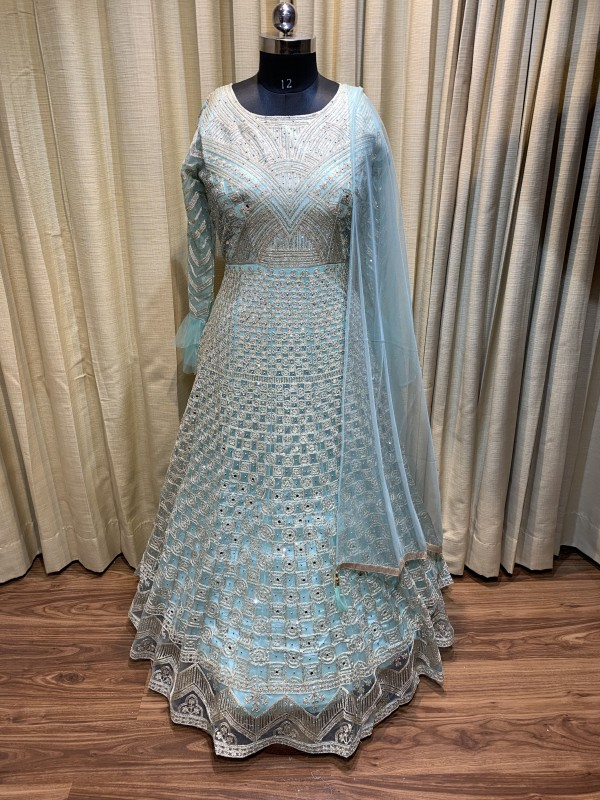 Soft Premium Net Wedding Wear Gown In Light Turquoise  With Embroidery Work & Stone Work