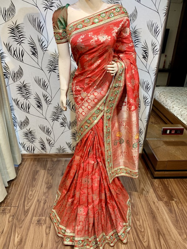 Pure Banarasi Silk Party Wear Saree In Red Color with Embroidery