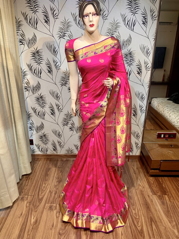 Pure Banarasi Silk Party Wear Saree In Pink Color