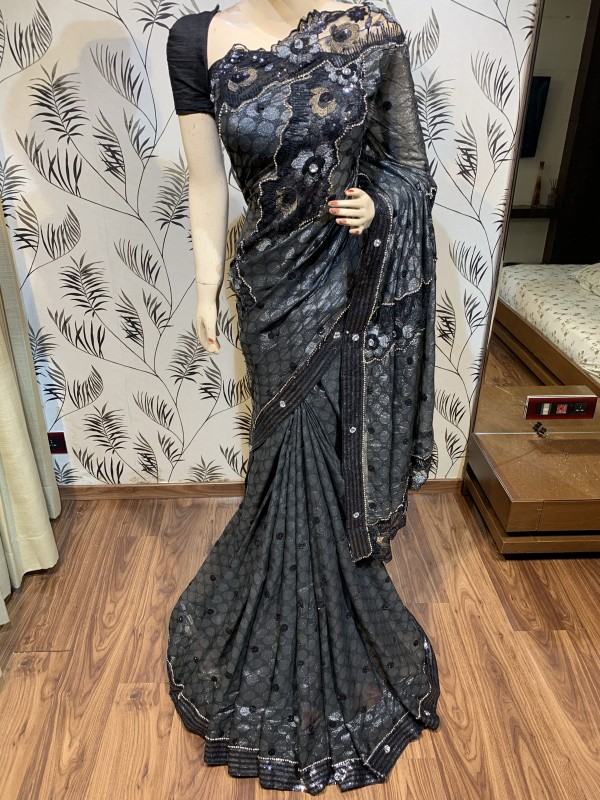 Fancy imported Fabrics Party Wear Wear Saree In Black With Embroidery Work