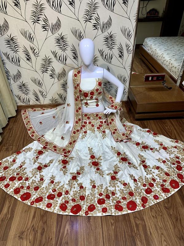 Pure Satin Silk Mehendi Sangeet Lehenga White Color With Embroidery Work & Stone Work