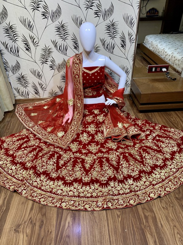 Pure Micro Velvet Wedding Lehenga In Red Color With  Embroidery  Work