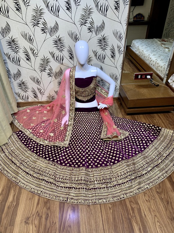 Pure Micro Velvet Wedding Lehenga In Purple Color With  Embroidery Work