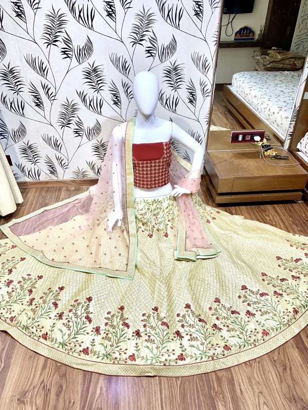 Satin Silk Party Wear Lehenga In Cream  Color With Embroidery Work
