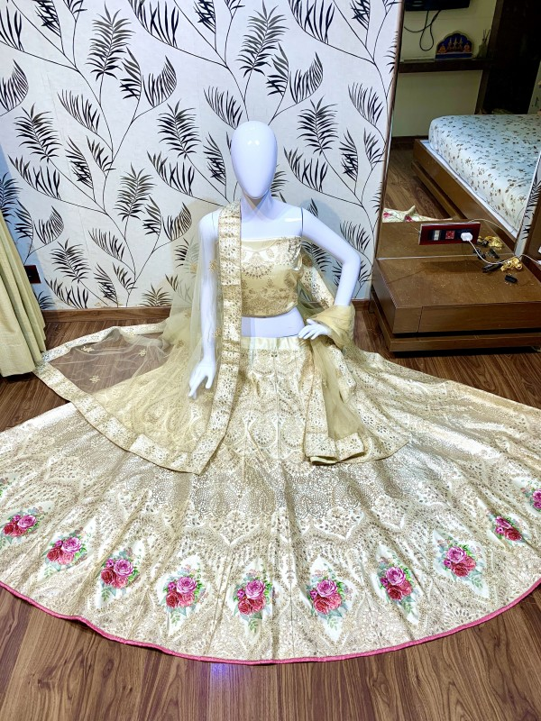 Satin Silk Party Wear Lehenga In Beige Color With Embroidery Work