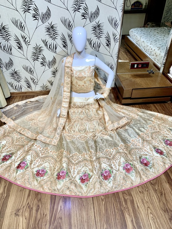 Satin Silk Party Wear Lehenga In Peach Color With Embroidery Work